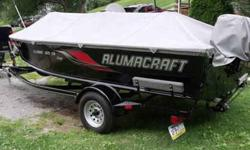 2010 alumacraft fishing boat classic camp cs 16.5 feet 20 hp. tohatsu 4 stroke motor ,electric start,windshield,livewell,steering wheel,3 seats,storage,lights for night fishing,easy load trailer,fish finder and many extras,custom tarp,like brand new call
