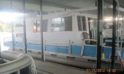 MAUREL PONTOON HOUSEBOAT 13X36 85HP EVINRUDE MOTOR PORTABLE GENERATOR ROOF AIRGOOD SOLID BOAT NO LEAKS ANYWHERE INSIDE NEEDS UPDATING THINK EVERY THING INSIDE IS ORIGINAL TO THE BOATWOULD CONSIDER SMALLER PONTOON WITH TRAILER OR PICKUP TRUCK AS PARTIAL