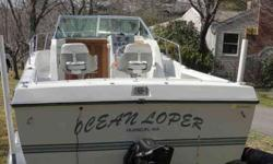 21 1/2 foot chris craft seahawk. New 4.3 mercruser w/50 easy hrs flushed after every use Only 628 Hrs on boat This boat still shines like new never bottom painted always garaged This boat has new compass' through fittings' carpet below,Bimini top w/ full