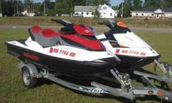 2010 Sea Doo GTX 155 & 2010 Sea Doo GTI 130 with Triton aluminum trailer... 2010 SEA DOO GTX 155, 155 horsepower ROTAX FUEL INJECTED LONGITUDINAL IN-LINE 3 CYL 4-STROKE WITH ONLY 34 HOURS, ELECTRIC STARTER, S3 HULL, I CONTROL, ELECTRIC VARIABLE TRIM, TILT