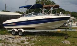 5.0 Mercruiser with Alpha Drive, Bimini top, am/fm/stereo cassette, fresh water shower with tank, tandem axle trailer. Ready to go, nice boat. Can be seen at Don's Boat Sales in Gibsonton, Fl