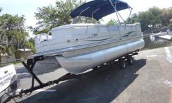 2006 Tracker party barge 22? Regency edition powered with a Mercury EFI 4 stroke 60hp engine This boat is pristine, new oversized bimini, 14 person capacity, entrance front and rear, huge amount of storage and a double axle gal. trailer.