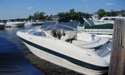 24' Bayliner Capri 2350 LX bowrider with new engine, year 2000, Mercruiser 7.4 liter engine (320 hp) with MPFI approx. 25 hours on the engine, fresh water only no bottom paint, bravo 3 outdrive with stainless steel props. The boat has a full camper top