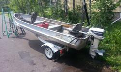 14' Alumacraft with 1986 9.9 Johnson. Boat has no leaks and the motor runs very well. EZ loader trailer with lifetime license. Boat is licensed through 2016. Comes with an anchor and oars. Hate to part with it. I have caught a lot of fish using this boat.