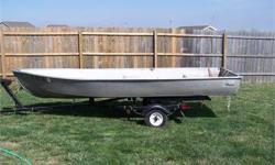 14' ALUMINUM Fishing boat w/trailer, 50# thrust trolling engine, marine batteries, anchor & paddles. $1000. 309/840-0737 Pekin, IL. 4/2. Listing originally posted at http