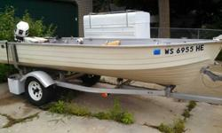 14 ft MirroCraft Deep V with 1994 25 hp Johnson long shaft that is electric start. Boat and trailer were professionally painted with marine paint 3 years ago. I built in a carpeted floor about the same time that runs front to back.25 hp Johnson electric