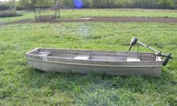 10' Flat Bottom Aluminum Boat. No leaks, comes with a trolling engine. $150.00 obo. 760-3595Listing originally posted at http