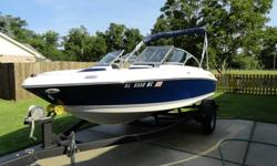 18' Vee Hull, Classic Navy, 30 Hours on 3.0 MerCruiser, 135 HPAlpha, Bimini Top, Bucket Seats (2), Comes with Sure-Load Custom Matched Single Axle Trailer W/Breaks and Breakable Hitch so it can fit in garage. Complete custom fitted cover.