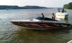 24 feet cuddy cabin this boat has it all brand new 454 big block racing engine I paid 9000 dollars for and have all receipts brand new full vinyl wrap new interior cuddy cabin will sleep for comfortably has a bed and two couches that will make a bed porta