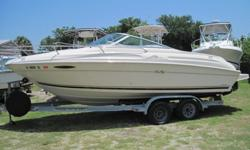 Powered by a Mercruiser 5.7L EFI 260HP with 160 Hours, Stainless Prop, Extended Swim Platform, Stereo, Porta Potti, Bimini Top, Tandem Trailer...