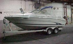 ! Ready for summer ! This 22' Express Cruiser is great fun. Only 110 hrs, it's in good shape, has a cabin which sleeps 4, capacity of 8, head, water system. Comes with trailer.