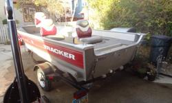 Priced to Sell! If interested message and I can send more pics!15ft Bass Tracker Deep V Aluminum Fishing Boat with Trailer* 2002* In great condition, always stored inside/do have a boat cover to include* 3 pedestal seats* Live well*Electric