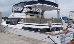 This 46? Ocean Alexander 460 Sundeck 1989 is located in Bridgeport, CT. She is an outstanding vessel that can transport you to destinations beyond or serve as a fabulous liveaboard. An extended version of the popular 440 Sundeck models, she is the queen