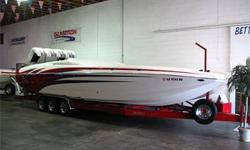 Nice! Cat Hull, Mid-Cabin Open-Bow, Bimini Top, Twin Supercharged 800 Horsepower (800 ea) Pro-Built Bob Teague Race Engines, Mercury Racing Drives, External Hydraulic Steering, 5 Blade SS Props, Drive Showers, Through Hull Header Exhaust, Onboard