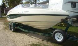 1998 Rinker 232 Captiva Bowrider; Stainless steel prop. Drive stereo system, 220 amp alpine with Boston acoustic subs set for ipod and satellite radio. Travel cover . 2005 heritage trailer w/surge disc brakes. snap travel cover. 1.5 cover that snaps on