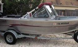 2002 - 17 4 Alumaweld Stryker Aluminum boat.Heavy-duty Aluminum (Welded Bow Deck, Bow Storage, Bow Live Fish well, Walk-thru Windshieldand built-in 18-gallon Fuel tank) all welded construction.- two - Front seats on Storage boxes. - two - Back seats. -