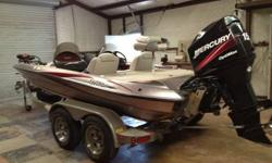 "2004 Triton TR-185 Limited Edition Bass Boat 150 Mercury Optimax 6"" Jack Plate Tempest SS Prop Triton Custom Tandem Trailer Dual Console Lowrance X51 one in dash and one in bow 71 LB 24 volt Motorguide trolling motor Triple bank built in charging system"