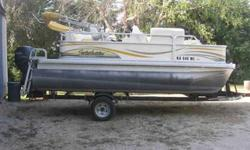 Pre-owned Goldenrod in color 2008 Sweetwater Pontoon Boat,1780RE Fish, 3gate with 60 HP Yamaha four stroke High Thrust outboard. Boat is in excellent condition. Upholstery, carpet, and canvas all in great shape. This boat is equipped with bimini top with