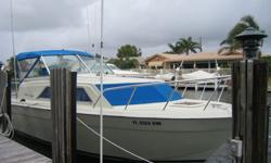 A CLASSIC and an EYE CATCHER on the waterway, this boat has been very well maintained by its present owner of 28 years. TOTALLY RESTORED in 2007. Twin Engines- 350 hp- 5.7 Liter- gas w/ low hours. Starboard engine needs service.NEW wiring, gauges, gas