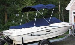 3.0l 135 h.p.,seats 7, only 58hrs.like new, garaged and pampered,owned by older couple switching to sail boat. trailer and Garmin color FishFinder/Depth.