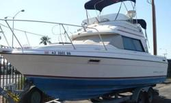 "1990 Bayliner 2556 Convertible 1990 Bayliner 2556 Convertible Fly Bridge Only $16,900.00 ""Cash"", Private Party Sale. No Tax... Call 602-two-nine-zero-7458 Only 107 Hours on Rebuilt Mercruiser 7.4L V8 with Closed Loop Cooling, Bravo II Drive, Recent Tune"