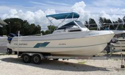 Twin 150HP EFI Mercurys, Starboard rebuilt 2009-101 HRS, Port rebuilt 2012-1 hour, Bimini and aft bimini with boots, Raymarine RC 435 Chartplotter, GPS and DS 600X Fishfinder. Trailer available.