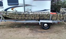 16 foot fishing/hunting flat bottom boat with a 25 hp Johnson, trolling motor, depth finder, comes with Ez Load trailer, recently used on 8-13-2014 at Horsetooth Res. and had tag on it from there. Also comes with small blow horn, fire extinguisher,