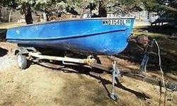 Everything is in great shape and works well. Boat has 4 bench seats, all in great shape, and can stay in the water all day with very little seepage. Trailer has new lights, wiring, and tires. Both motors work fine. Power station has a loose wire that is