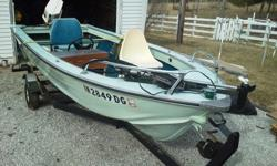 16 FT 1970 Smokercraft V hull aluminum boat & trailer for sale ($3,250)? 20 HP Chrysler outboard motor (Approx. 25 hours on motor)? Steering column & throttle console? Bow mounted Minn Kota trolling motor with foot pedal remote? 2 captains seats as well