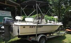 2005 Key West Bay Boat, 115 2 stroke Yamaha. Low Hours. GPS /Depthfinder, Marine radio, CC, Has wash down System, two built in coolers, Large livewell and dry storage. Aluminum trailer. This boat is in mint condition, garage kept and runs like new. Great