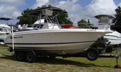 225HP Mercury EFI, T- Top with instrument box, Head in center console, GPS Garmin 282 Color, Eagle fishfinder, VHF Radio, am/fm stereo, Battery switch, Compass, fresh and saltwater washdowns, stand up live well, 2 large fishboxes, leaning post with