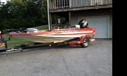 Bass Boat 17.7 ft.(Correct Craft) with 150hp Mercury motor. Boat is in excellent condition. It is equipped with two live wells, Two Eagle fish finders, Minn Kota Maxxum trolling motor (74 lbs. Thrust) with two batteries. Has a Dual Pro three battery
