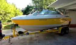 2004 Monterey Montura 200 LS Bowrider.Only 235 hours on Volvo Penta Outdrive 5.0L.Swim platform with fold-down ladder, Bimini, Depth finder, CD Player with jack for ipod, Flip up bolster captains seats, In floor storage, Walk-thru transom.Runs well. Great