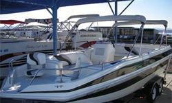 Super Nice! TriHull Deck Boat, 300 HP Mercruiser 350 Mag MPI, Through Hull Exhaust, Bravo One Drive, SS Prop, Drive Shower, Trim Tabs, Double Bimini Tops w/ Struts, Front Swiveling Fishing Seats, Large Integrated Rear Swim Platform w/ Ladder, Ski Tow,
