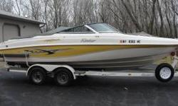 selling a 2002 Rinker captiva 212, has a mercruiser 5.0 fuel injected I/O with a 4 blade stainless prop. an extension deck which is great for skiing/ swimming ect. has a cd radio combination, with 4 cockpit speakers. comes with docking/moarring lights,
