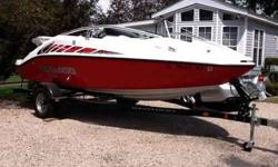 2006 Sea Doo speedster 200 twin engines 430 HP . Only 47 hours stored inside winters on lift summers. Dealer serviced every year. Extras include snap in carpet and Bimini top plus full cover. 2007 karavan trailer included. Closed cooling system takes no
