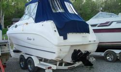 1999 24? Rinker Fiesta Vee Cruiser 5.0 liter, 305 with 300 hours; Alpha 1 outdrive, stainless steel prop, also have extra prop. Trim tabs and trim indicator. Dual axle Heritage trailer. Onboard Air and heat, just installed 2011. Dual batteries with switch