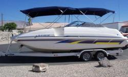 2000 24' Monterey deck boat. 5.7 litre engine, twin s.s. props, double bimini w/screen enclosure, cover. Trailer has new tires. This is a clean good running boat.$18,500 928-706-0885 I WILL NOT REPLY TO E-MAILS OR TEXTS, IF THIS AD STILL APPEARS IT IS