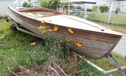1953 Thompson Center Steer Wooden Boat 16' Needs Transom. Lost its winter storage, needs a new home quick before it is ruined forever, and that makes me sad. Would love to see it come back to glory, it has all parts with it, from the original string on