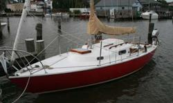 1960 Pearson Electra 22' Sailboat, refurbished 2015. Classic boat in excellent condition. New gelcoat from waterline up, new standing and running rigging, new Harken roller furling, new mainsail, new sunbrella interior cushions, Honda 20B 5HP engine
