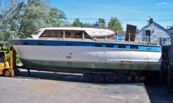 1962 44ft Chris Craft Roamer tri cabin no windshield, handy mans special very well built, no engines, no trailer, but have a trailer available upon request. Hull is fairly sound. This is a steel hull!!! Would make a great work boat. Price $3,500.00 Check