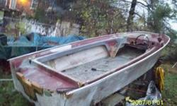 1965 Crosby, 14 ft. fiberglass boat,,3 hull,,project boat,,with trailer....would sell trailer, it is in good condition..and could even be altered to carry other stuff..it is heavy duty enough to carry this heavy boat..will trade for something..make