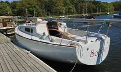 "28'LOA, 9'beam, 3' draft. ""Sophie"". Comfy, easy-to-keep-clean vessel. Was last launched summer of 2014; now on the hard in Orleans MA. Sails are in working condition but forestay (with roller furling job) needs pin replaced. Engine, fuel tank in very good"
