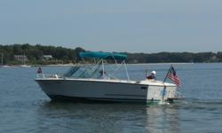For Sale - Chris-Craft Lancer 23' (1972). Jim Wynne deep-V planing hull design, 8' beam, Inboard/Outboard (IO) repowered in 2007 with a Volvo Model 260 gas engine, new alternator (2013), all outdrive seals replaced (2013). Todd Marine 40-gallon gas tank