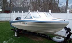 This is a 1972 16 foot glastron vee hull with electric shift and a 100 hp evinrude outboard motor.It has had some new glass replaced and floor with rug also seats front pairs were redone 10 years ago and as seen are not perfect but are ok and the seams