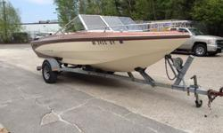 1977 Classic Glastron 19SS in mint shape. Engine, out drive, completely gone through. Hull and deck rock solid. New seats , carpet, steering wheel stereo with new speakers.Trailer is a shore lander roller trailer like new. Bimini top and boat cover