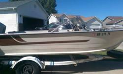 "16.5"" Aluminum Starcraft boat with an 85 horse Spirit outboard motor (made by Suzuki). New bilge pump, all lights work, both depth finder & fish finder work-fish finder only 6 months old. Solid floor & bough seats. Seats show signs of wear, but no holes."