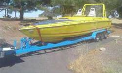 Twin 400 ChevysLess than 50 hrs on themVolvo penta drivesBronze propsFull surround sound stereoStainless exhaustedCabin with bench seatsSleeping quartersShip to shore radioNew electronicsTrailer and tires are in great shapeNever racedFamily ownedOwned by