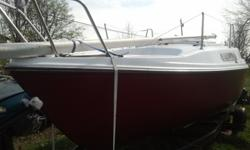 1980 Mcgregor V22 Sailboat. Swing Keel, Solid Hull, new paint inside and out. Spring cleaning and she is ready to sail. Comes with trailor and a 5hp outboard that will need serviced for the season. Clean boat title, no title for trailor. Sails on good