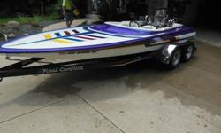 Its got a few chips/scratches in boat primer color on rear right.good trailer new tires last year it has a Chevy 454 bored 30 over runs 70 mph.has two Holley 450 center squirts brand new on it. Berkeley pump with place divitor and snoot and a 4 degree
